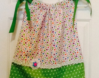 Polka Dot Pillow Case Dress, Size 3, Cotton, Summer
