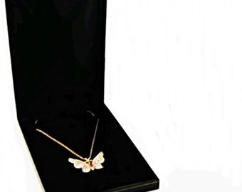 1 Classic Black Leatherette Necklace Pendant Jewelry Gift Box