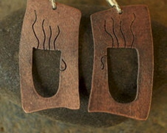 copper coffee cup earrings