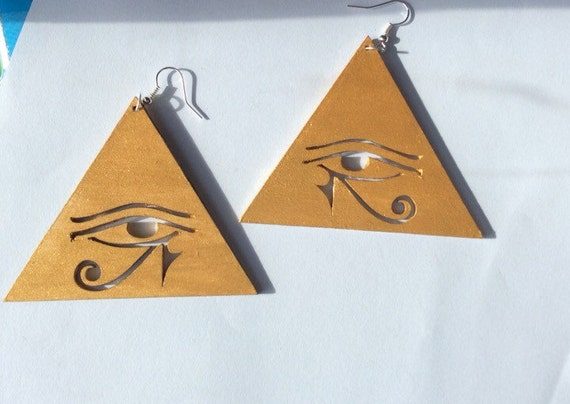 Eye Of Horus Earrings Ethnic Earrings African Earrings Eye Of Horus In Triangle