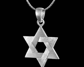 Sterling Silver Star of David Pendant - Two Textures