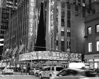 New York Photography, Radio City, Taxi, Cab, Black and White, Yellow, Night, Lights, Wall Art, Matted Print, Contemporary, NYC, Urban Art