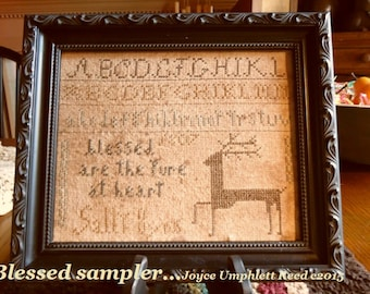 Blessed sampler primitive cross stitch pdf pattern