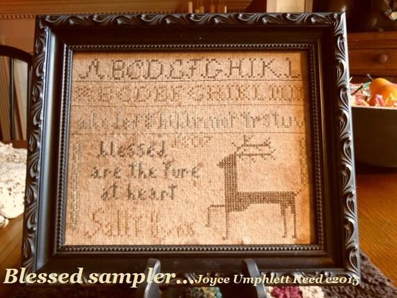 Blessed Sampler Primitive Cross Stitch Pdf Pattern