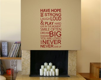 Inspirational wall decal - Have hope be strong dream big never give up