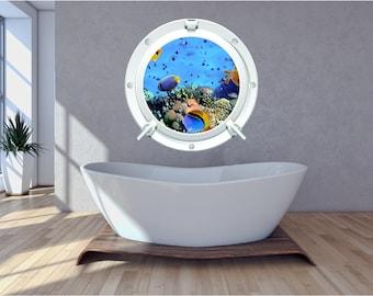 Sea 1 Underwater Aquarium Ocean Sunset Bathroom Bedroom Porthole Wall Art Sticker Decal WAP-P103M