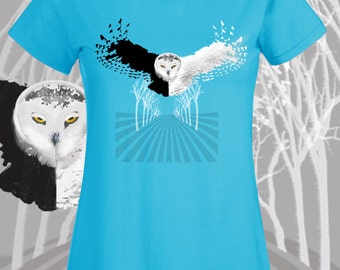 Owl tshirt graphic tee women. Flying owl black and white bird t shirt. Blue nature tees for girls. Bird lover gift Snowy Owl original art
