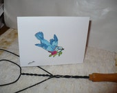 Bluebird Watercolor Note Card, Greeting Card, Get Well Soon, Hello, Just Because by Markets of Sunshine in Florida