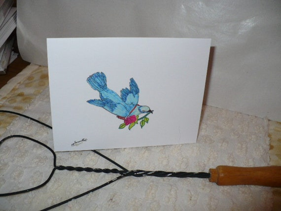 Cheerful Greeting Card for All Occasion, Bluebird Watercolor Note Card, Original Artwork by Kayla Jaramillo