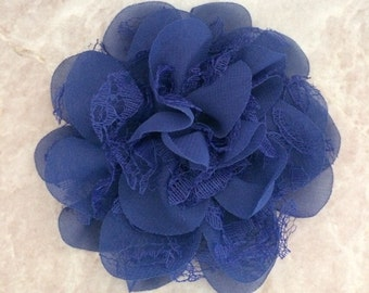 Chiffon and lace flower, large flower, navy flower, lace flower, flower puff, flower supplies, DIY supplies, blue flower, navy