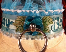 """Leather locking collar- READY TO SHIP! """"Sissy Boy"""" teal metal rose center piece with Swarovski and glitter accents. Size medium (13-15 in)"""