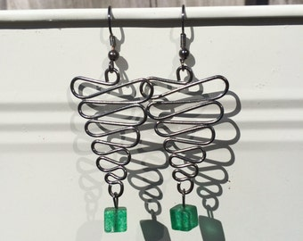 Cute Fun Simple wire and glass beads drop handmade earrings