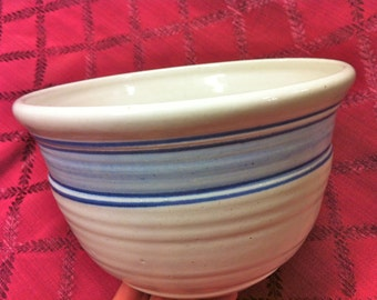 Lg Handcrafted Artisan White Blue Stripe Pottery Mixing Serving Bowl
