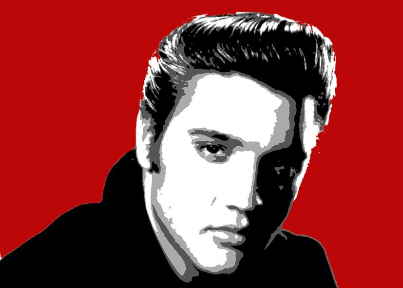 elvis presley pop art bild moderne hand gemalte portr t. Black Bedroom Furniture Sets. Home Design Ideas