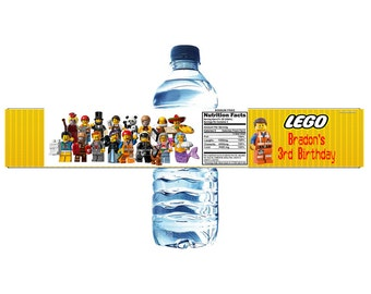Lego Movie Personalized Water Bottle Label Set of 5 (Printable) (DIY)