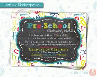 Pre-School Graduation Invitation | Pre K Class Graduation Announcement Printable, DIY Invite