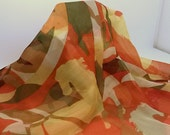 Abstract Yellow, Green Horse Print Chiffon Scarf - 16x62 inches - Free Shipping