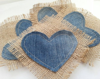 Rustic denim coasters hessian hearts  set of 4 by SF
