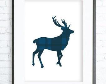 Blue Deer Print Art, Instant Download Printable, Decor deer printable art, Print Art, Deer Wall Decor, Deer Art Print, office artwork