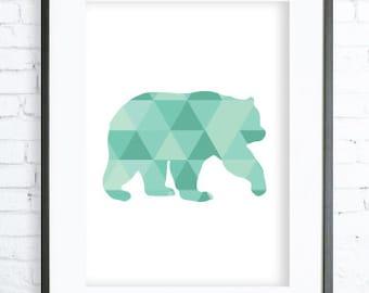 Mint Bear - Bear Print Art - Bear Modern Art Print - Gallery Wall - Instant Download Printable