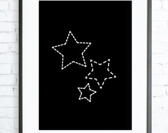 White Star, Geometric Print Art , Geometric Print, Stars Print, Black Star ART, digital print, printable wall art