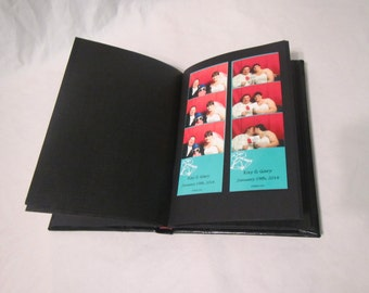 Photo Booth Album / 5x7.5 Drymount/Bookmount Mini 20pg A5 Black Leather w/ Glassine Interleave pages