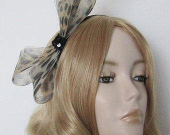 ANIMAL PRINT FASCINATOR, Leopard crin,  Toffee and Black Feathers,  Sequins,on a 5mm Black headband,