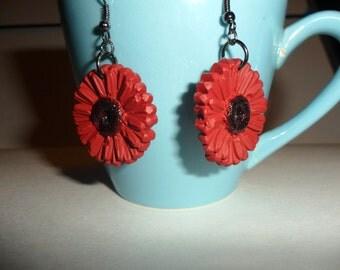 garnet daisy earrings