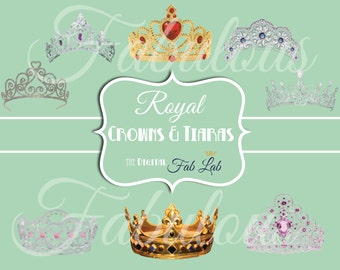 Royal Crowns & Tiaras Digital Clipart, King, Queen, Princess, Scrapbook