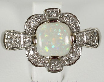 Solid 14k White Gold Art Deco Style Genuine Opal Cabochon & 1/5 Carat Diamond Ring US Size 7