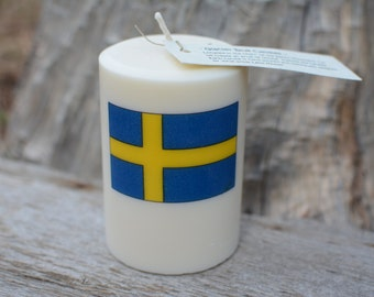 Palm Wax Candle Swedish Flag