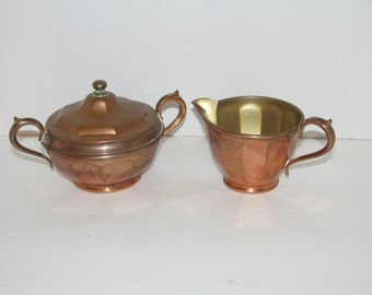 Antique Manning Bowman Brass Sugar Bowl and Creamer 691