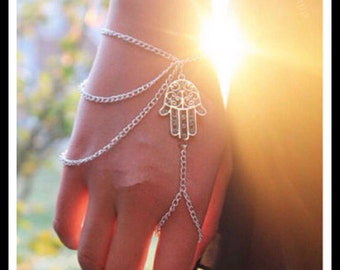 Silver Hamsa Hand Chain