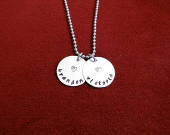 NAME necklace   KID's Names or COUPLE's names  ... Hand stamped necklace