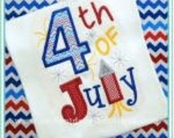 SAMPLE SALE: 4th of July Appliqued Tshirt or Bodysuit, Free Shipping