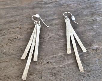 Fine Silver stacked earrings