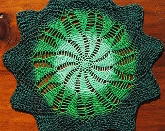 Small crochet doily, light green. green. dark green pinwheel doily, St. Patrick's Day