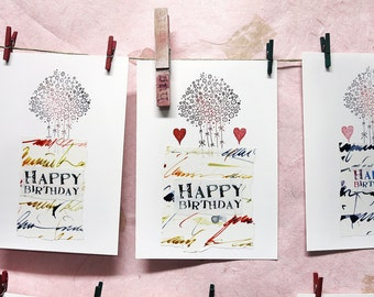 Happy Birthday Postcards, Unique, using Mixed Media, Collage and Stamps, with Flowers, Hearts & Alaalina's Handwrite
