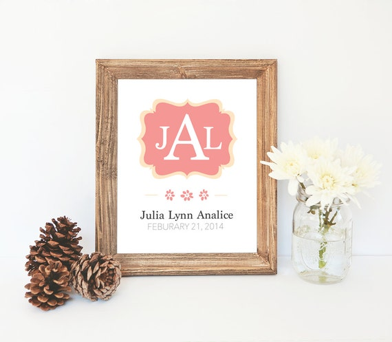 Monogram Custom Baby Art // Personalized Print // Nursery Wall Art // Print At Home