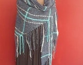 6 ft triangular shawl with fringe Maine Series - L'eau Vive - Open Waters