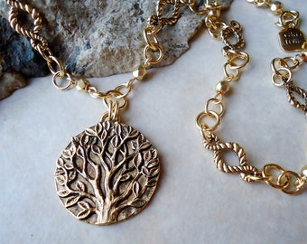 Gold Tree of Life Strand Pendant Necklace, Handmade Metal Chain plated in 24 Karat Gold. Judaica. Statement. Handmade.