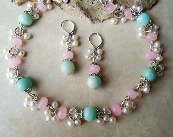 Multi Gemstones Cluster Necklace / Dangle Earrings Set.Amazonite Stone.Jade.White pearl.Silver.Gold.Bridal.Drop.Blue.Pink.Chunky.Handmade.