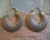 Tribal Earrings, Gypsy Hoop Earrings, Tribal Jewellery, Brass Earrings, Belly Dance Jewelry
