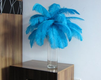 100pcs Turquoise Ostrich Feather Plume for Wedding centerpieces