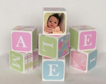 Baby Name Blocks Nursery Blocks, New Baby Gift / Christening Gift