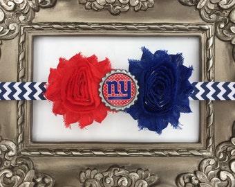 NFL New York Giants baby headband- perfect for football season!  NY Giants Baby Headband, NY Giants Girl