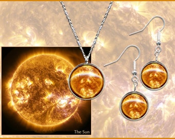 Sun Earrings and Pendant Gift Set with Sterling Silver Wires and Chain