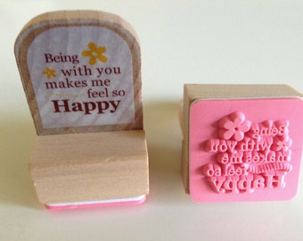 "Stamp ""Beeing with you makes me feel so happy"""