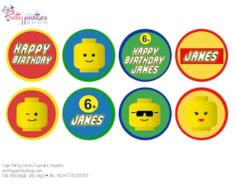 Lego Party Circles/Cupcake Toppers (Customized)