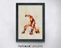 Iron Man Print, Avenger Superhero Poster, Marvel, Burlap Print, Home Decor, Wall Decor, Kids Room, Man Gifts, Linen Print with Frame -SP45